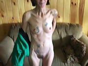 Skinny tatted wife with hairy honeypot unwrapping