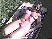 Yvonne gets naked outside on a cold day making her puffies hard