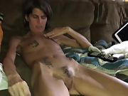 Skinny wife with wooly pussy undressing